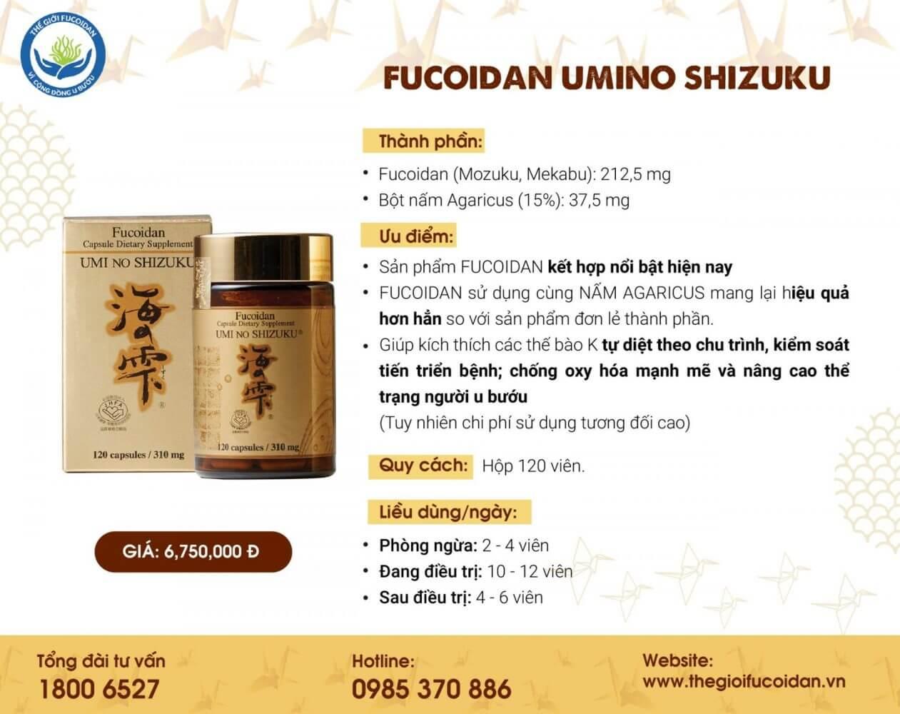 Umi No Shizuku Fucoidan vàng Nhật Bản: thành phần Fucoidan và nấm agaricus nhưng hàm lượng cao hơn