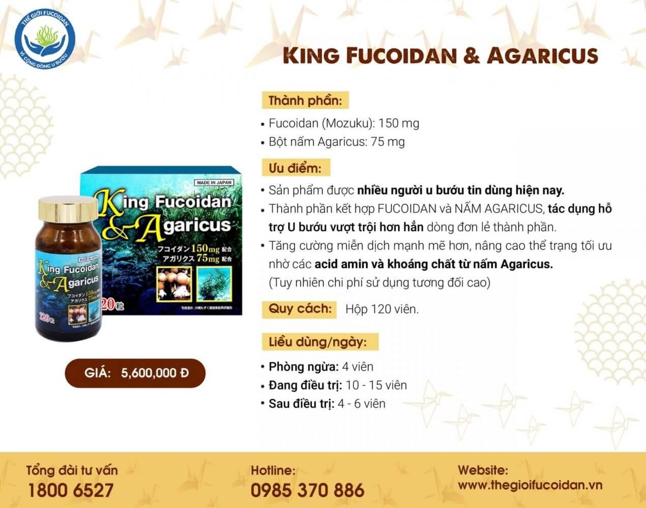 King Fucoidan - Fucoidan vua: kết hợp Fucoidan và nấm agaricus, hàm lượng thấp