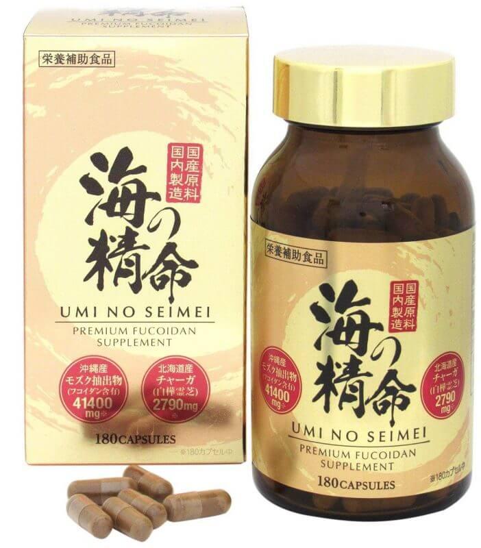Fucoidan in japan: Vital Nucleic Fucoidan Nano Premium bao gồm: Chiết xuất rong biển Mozuku, chiết xuất sữa cá hồi, chiết xuất nghệ mùa thu, lecithin đậu nành, canxi photphat