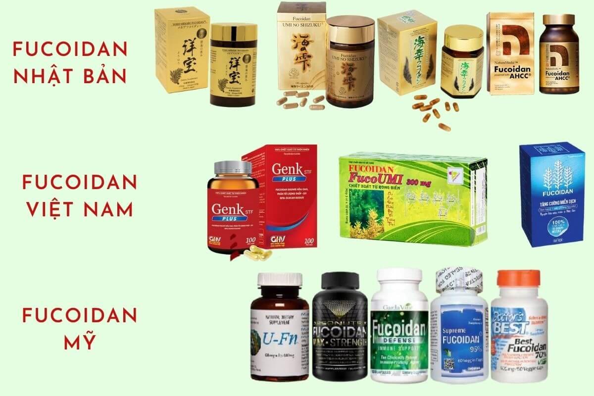 Các sản phẩm fucoidan của Nhật Bản, Việt Nam, Mỹ