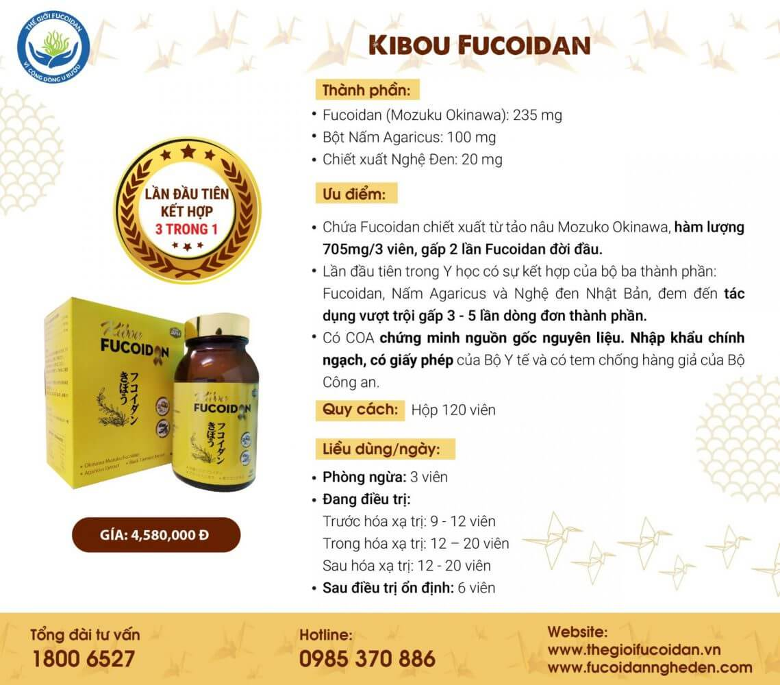 Kibou Fucoidan giúp giảm tác dụng phụ của hóa trị - xạ trị ung thư